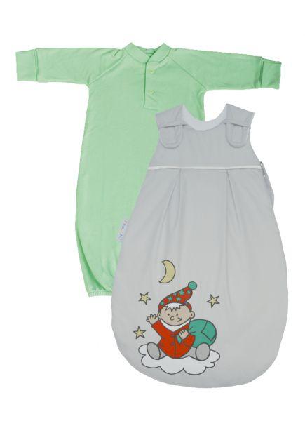 """SET: Picosleep Babyschlafsack """"grau mit Wichteldruck"""", inkl. Baumwoll-Langhemdchen in lindgrün"""