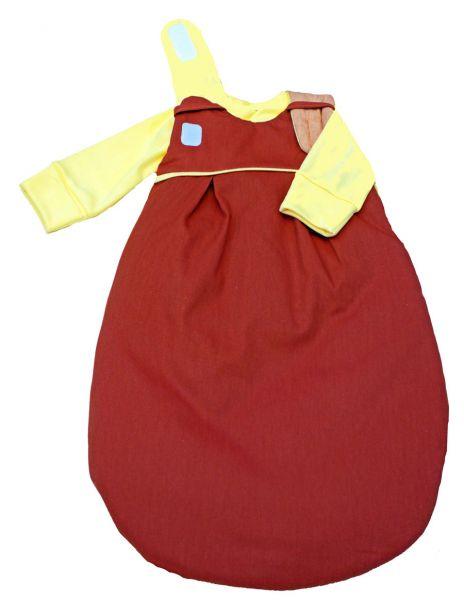"""SET: Picosleep Babyschlafsack """"rost"""", inkl. Baumwoll-Langhemdchen in gelb"""
