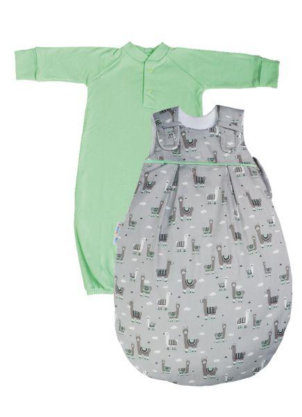 "SET: Picosleep Babyschlafsack ""Lama"", inkl. Baumwoll-Langhemdchen in lindgrün"