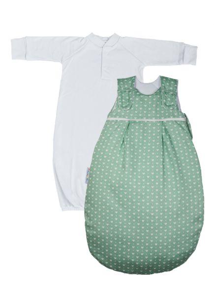 """SET: Picosleep Babyschlafsack """"grüne Herzen"""", inkl. Baumwoll-Langhemdchen in weiß"""