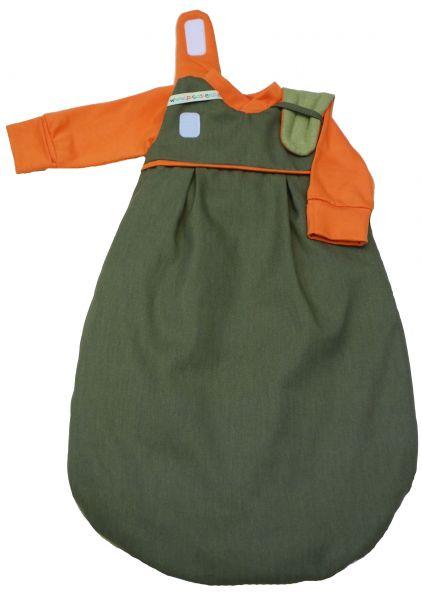 """SET: Picosleep Babyschlafsack """"oliv"""", inkl. Baumwoll-Langhemdchen in orange"""