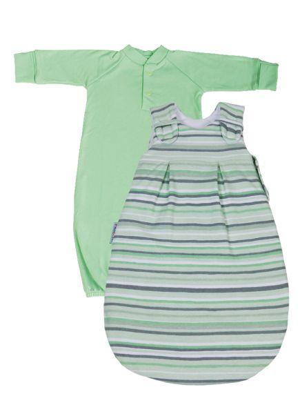 """SET: Picosleep Babyschlafsack """"in modernem Streifendesign"""", inkl. Baumwoll-Langhemdchen in lindgrün"""