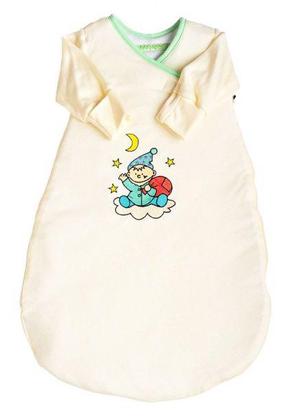 Biosleep Babyschlafsack Langarm Farbe ecru mit Wichtelstick