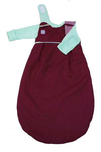 "SET: Picosleep Babyschlafsack ""bordeaux"", inkl. Baumwoll-Langhemdchen in lindgrün"